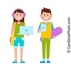 ubrany, nastolatki, radosny, dwa, przypadkowe ubranie
