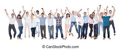 ubrany, szczęśliwy, grupa, przypadkowy, ludzie