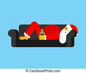 ubriaco, santa, sofa., natale, illustrazione, claus