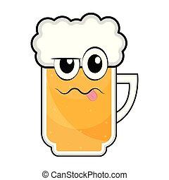 ubriaco, tazza, colorato, birra, icona