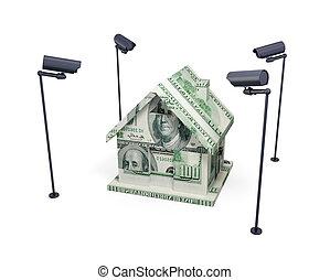 ubytovat se, cameras., udělal, pozorování, peníze