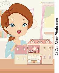 ubytovat se, děvče, ilustrace, panenka