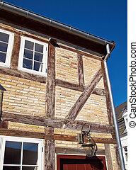 ubytovat se, německo, tradiční, dřevěný, napolovic timbered