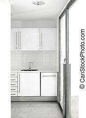 ubytovat se, neposkvrněný, kuchyně, moderní, jednoduchý
