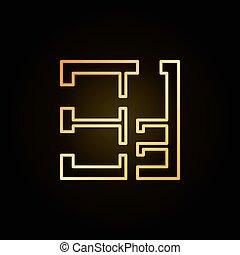 ubytovat se, plán, zlatý, ikona