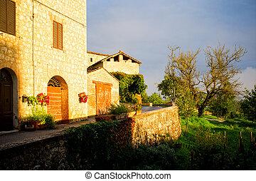 ubytovat se, toskánsko, východ slunce