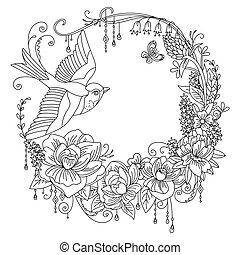 uccelli, 2, coloritura, fiori