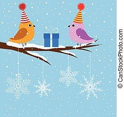 uccelli, albero, due, ramo, seduta