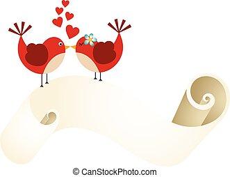 uccelli, amore, pergamena, coppia