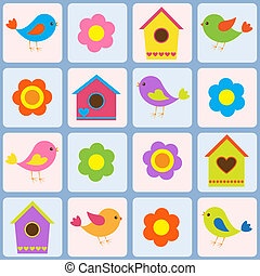uccelli, birdhouses., modello, seamless, vettore, fiori