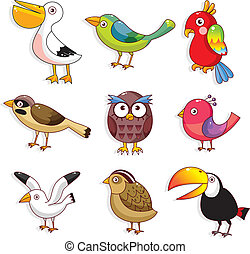 uccelli, cartone animato, icona