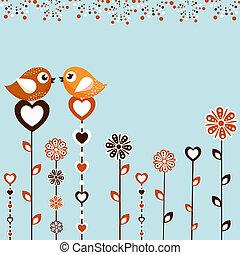 uccelli, con, fiori