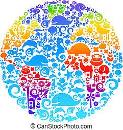 uccelli, fatto, animali, contorno, icone, globo, fiori