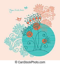 uccelli, floreale, fondo, astratto