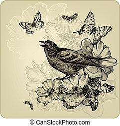uccelli, illustration., vendemmia, rose, vettore, fondo, butterflies.