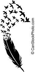 uccelli, illustrazione, volare, penna, vettore