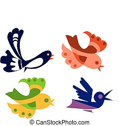 uccelli, set, colorito, illustrazione, oggetto, isolato, vettore