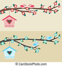 uccelli, su, ramo