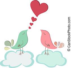 uccello, amore, coppia