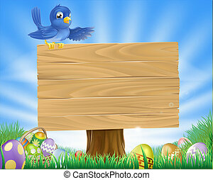 uccello azzurro, pasqua, cartone animato, fondo