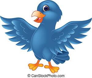 uccello blu, cartone animato