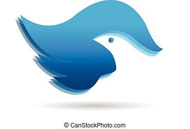 uccello blu, vettore, icona, logotipo