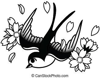 uccello canoro, e, ciliegia fiorisce