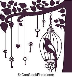 uccello, chiavi, albero, silhouette