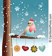 uccello, fondo, inverno