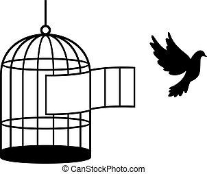 uccello, (free, bird), gabbia