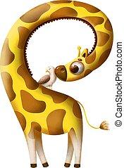 uccello, giraffa, alfabeto, divertente, cartone animato, lettera
