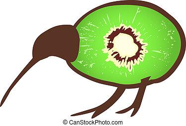 uccello kiwi, con, kiwi