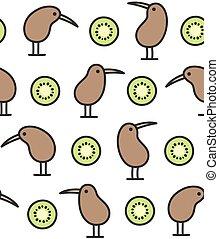 uccello kiwi, e, frutta, modello