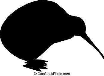 uccello kiwi, silhouette