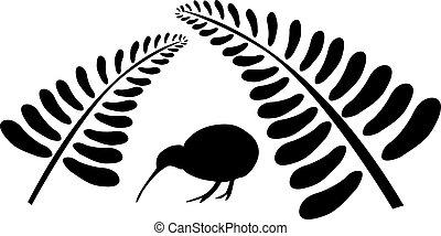 uccello kiwi, sotto, felce