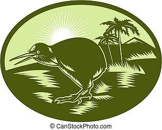 uccello kiwi, vista laterale, con, albero, in, fondo