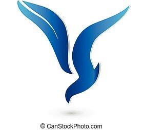 uccello, logotipo, vettore