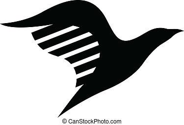 uccello nero, icona