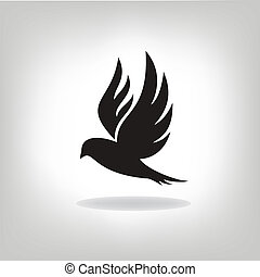uccello nero, isolato, con, espanso, ali