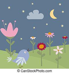 uccello, scheda, augurio, floreale