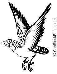 uccello, su, il, sfondo bianco, per, coloritura