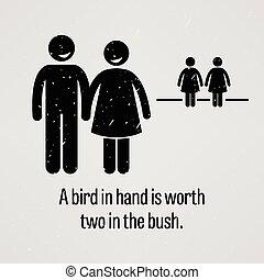uccello, vaglia, due, mano