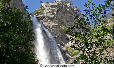 Uchan-su falls on the mountain Ah-Petri in the Crimea after a heavy rain