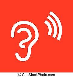 ucho, ludzki, znak
