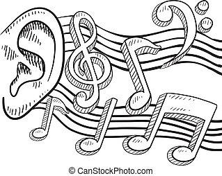 ucho, muzyka