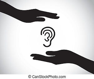 ucho ochrona, czek, słuchający, do góry