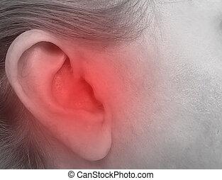 ucho, strata, kobieta, słuch, pojęcie, skaleczenia