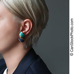 ucho, zamknięcie, panieński, biżuteria, kształt, do góry, earrings
