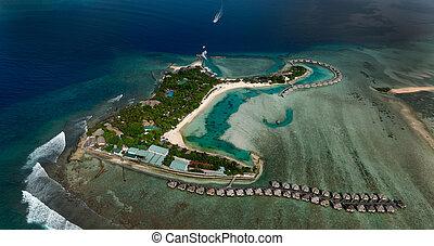 uciekanie się, okolica, malediwy, północ, atol