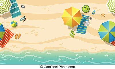 uciekanie się, parasole, plaża, seamless, barwny